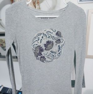 Lucky tees grey thermal long sleeve shirt size sm